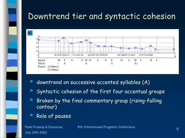 Downtrend tier and syntactic cohesion