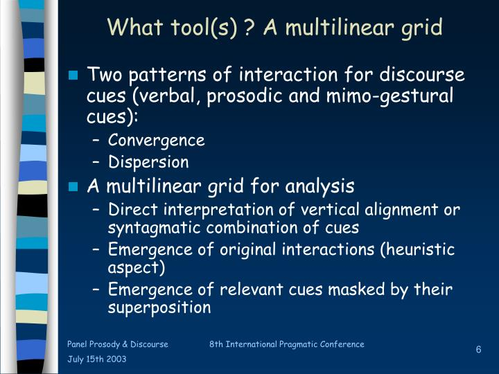 What tool(s) ? A multilinear grid