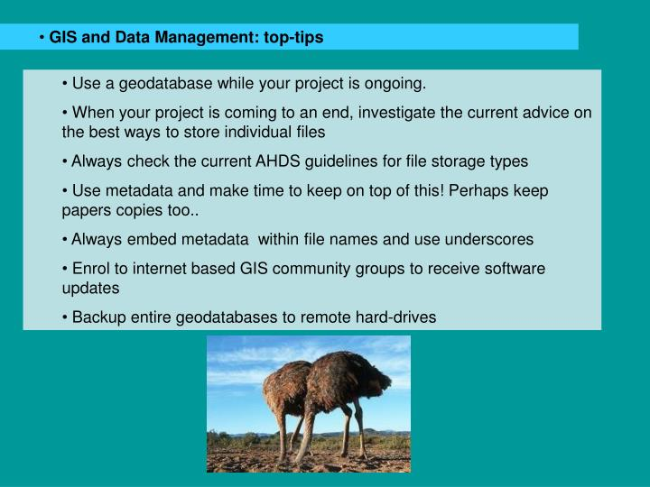 GIS and Data Management: top-tips