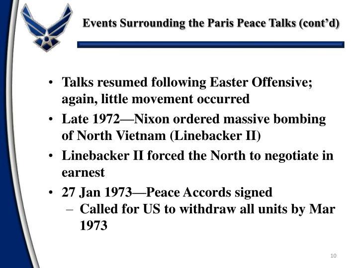 Events Surrounding the Paris Peace Talks (cont'd)
