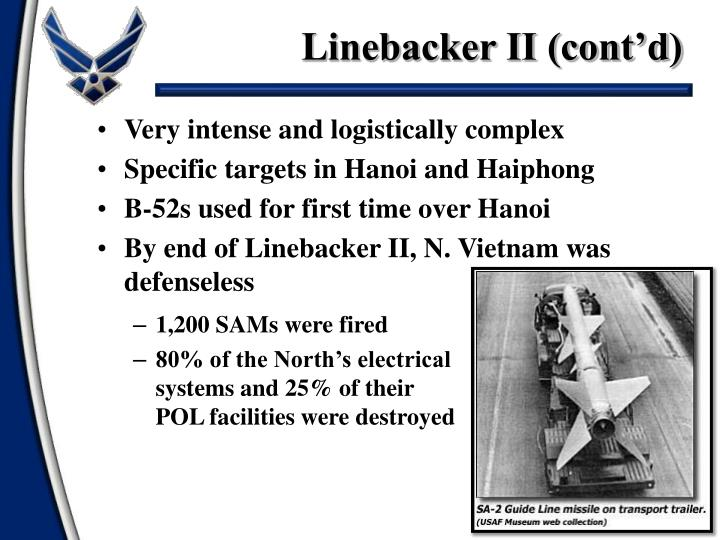 Linebacker II (cont'd)