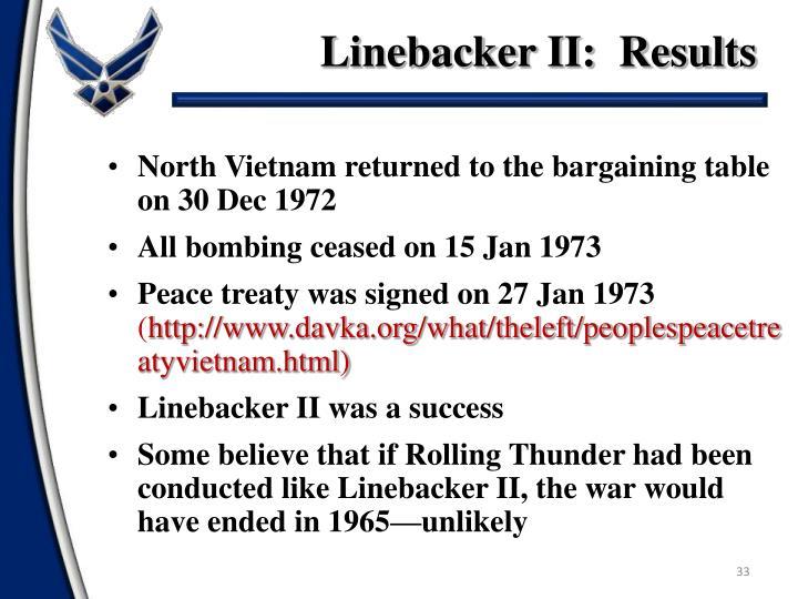 Linebacker II:  Results
