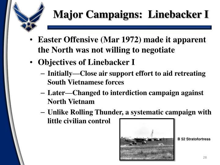 Major Campaigns:  Linebacker I