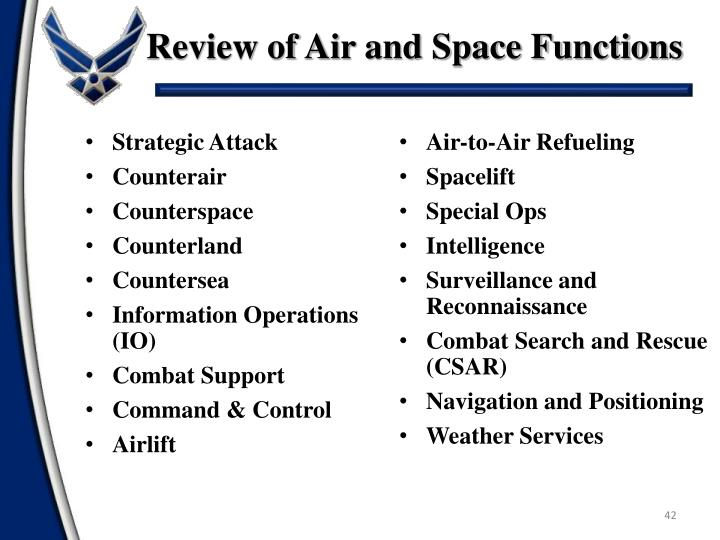 Review of Air and Space Functions