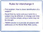 rules for interchange ii