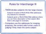 rules for interchange iii