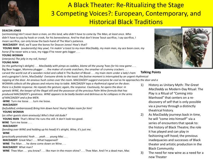 A Black Theater: Re-Ritualizing the Stage