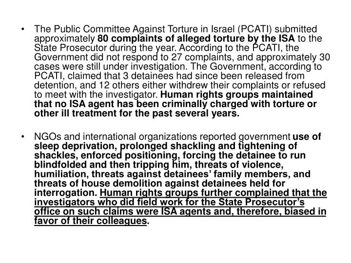 The Public Committee Against Torture in Israel (PCATI) submitted approximately
