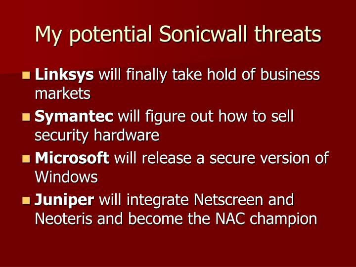 My potential Sonicwall threats