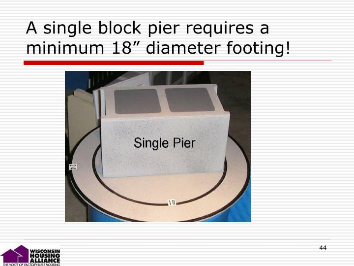 "A single block pier requires a minimum 18"" diameter footing!"