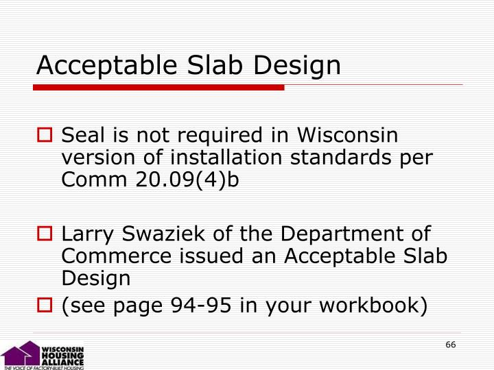 Acceptable Slab Design