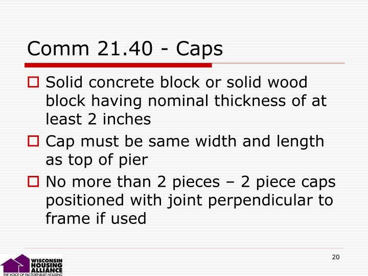 Comm 21.40 - Caps