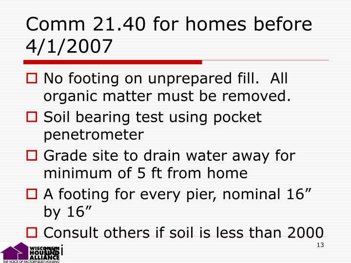 Comm 21.40 for homes before 4/1/2007
