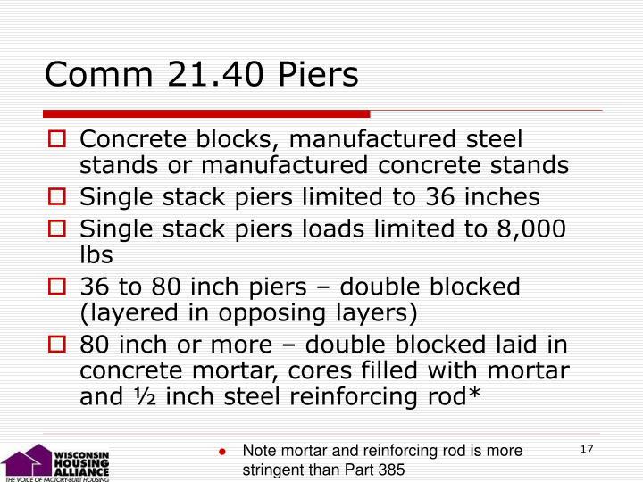 Comm 21.40 Piers