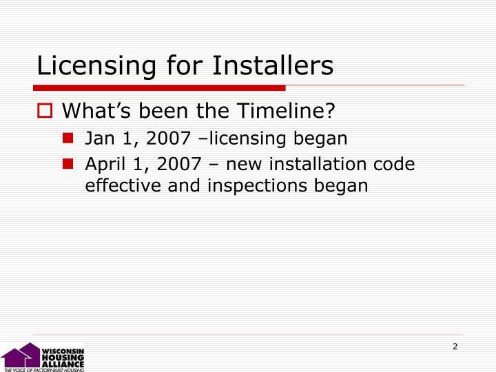 Licensing for Installers
