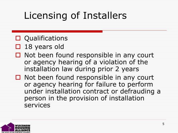 Licensing of Installers