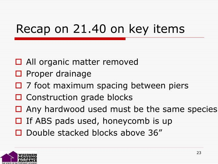 Recap on 21.40 on key items