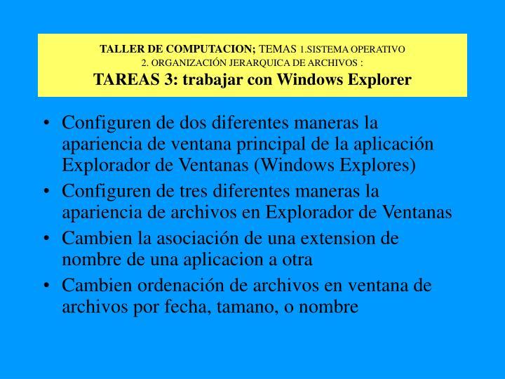 TALLER DE COMPUTACION;