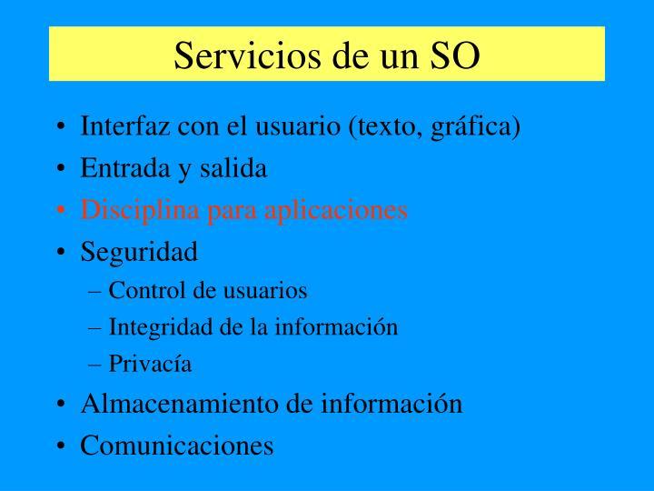 Servicios de un SO