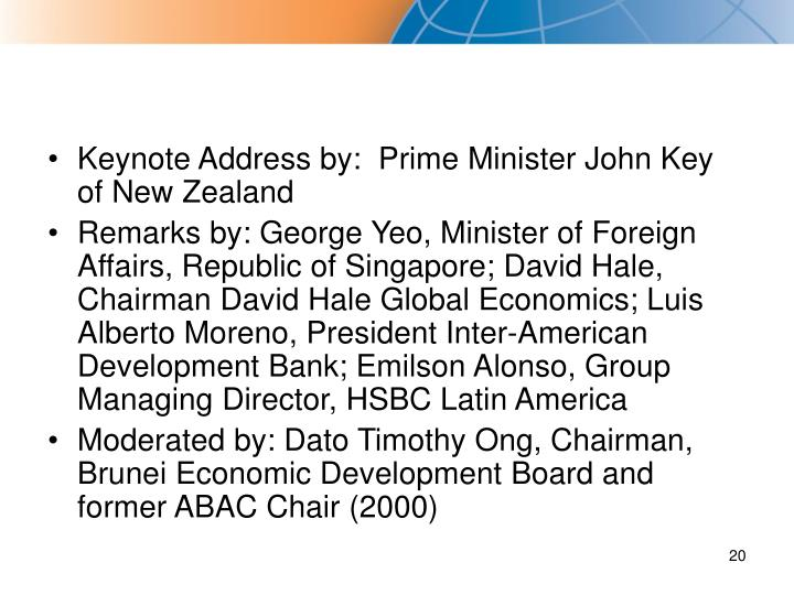 Keynote Address by:  Prime Minister John Key of New Zealand