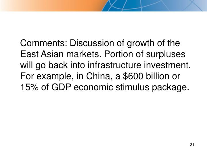 Comments: Discussion of growth of the East Asian markets. Portion of surpluses will go back into infrastructure investment. For example, in China, a $600 billion or 15% of GDP economic stimulus package.