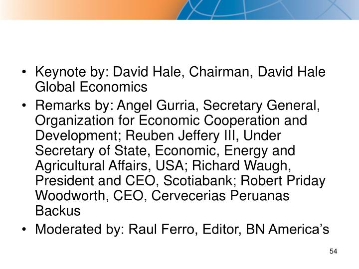 Keynote by: David Hale, Chairman, David Hale Global Economics