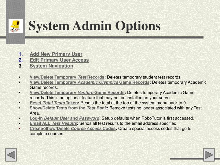 System Admin Options