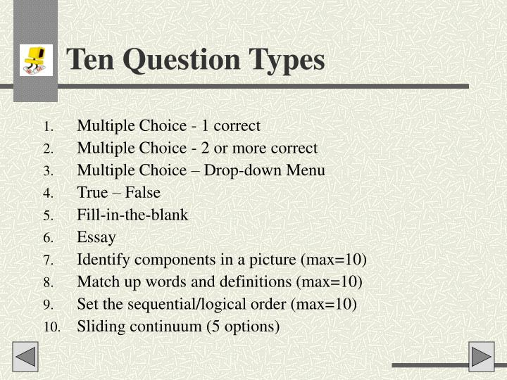 Ten Question Types