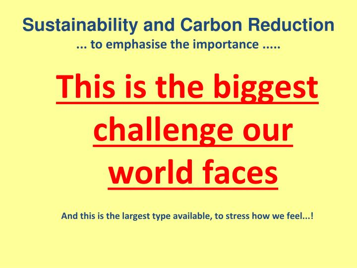 Sustainability and Carbon Reduction