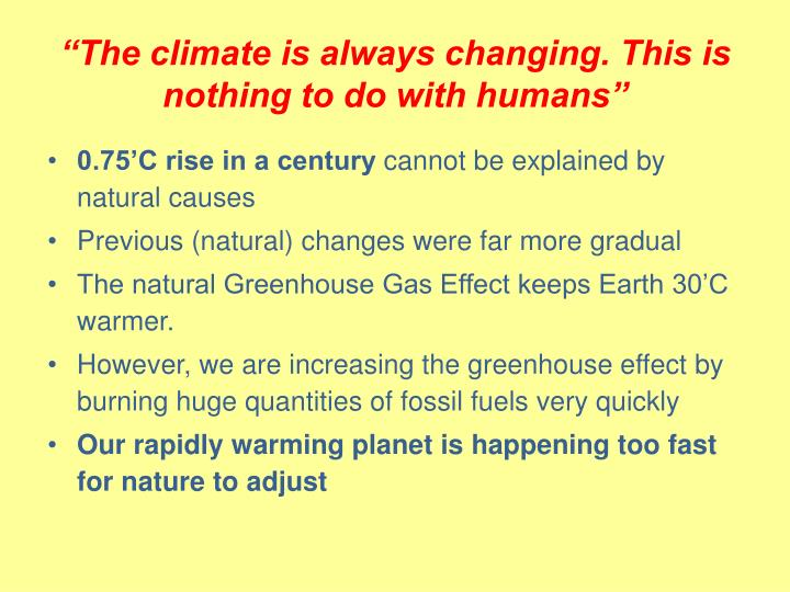 """The climate is always changing. This is nothing to do with humans"""