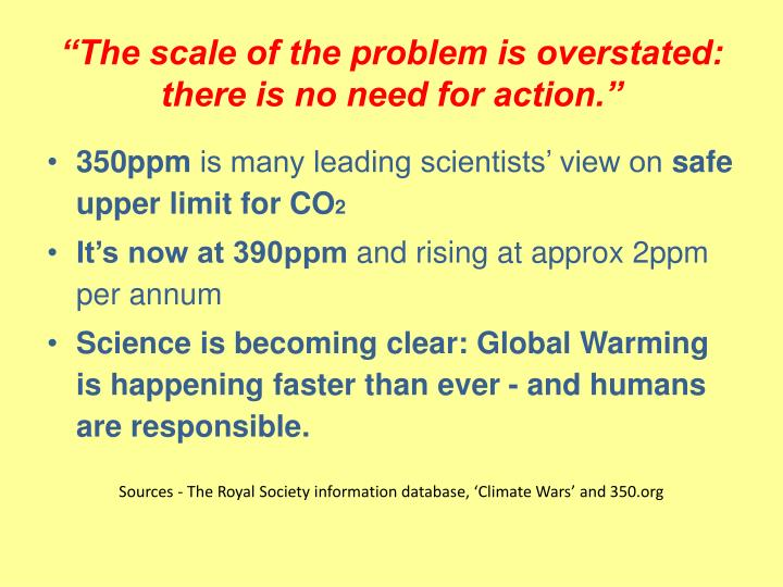 """The scale of the problem is overstated: there is no need for action."""