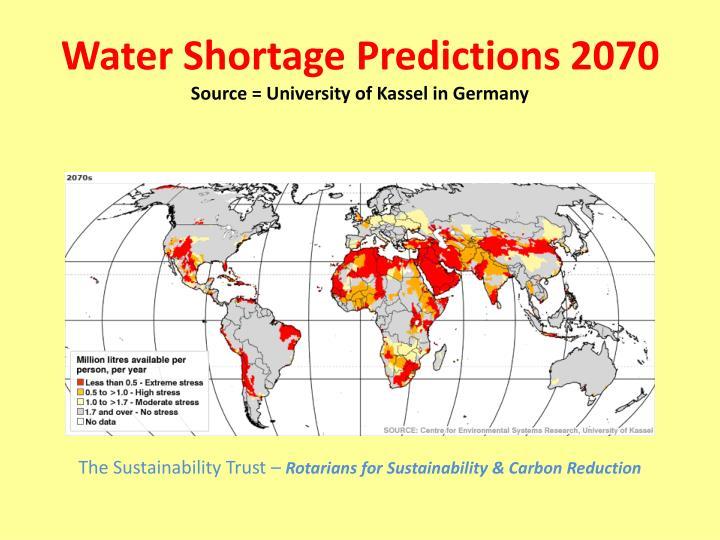 Water Shortage Predictions 2070