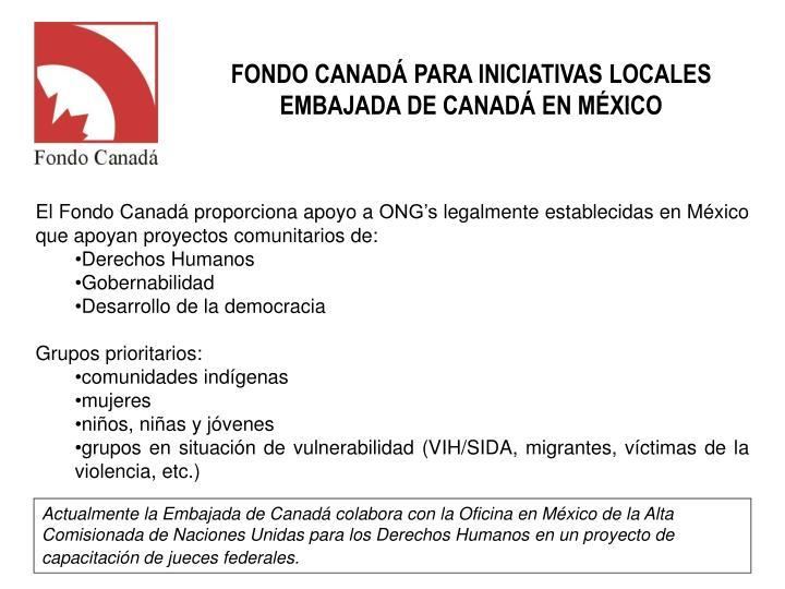 FONDO CANADÁ PARA INICIATIVAS LOCALES