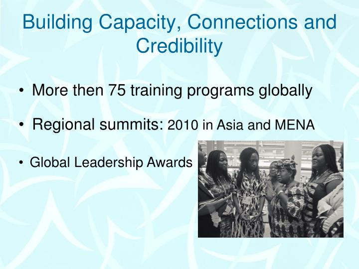 Building capacity connections and credibility