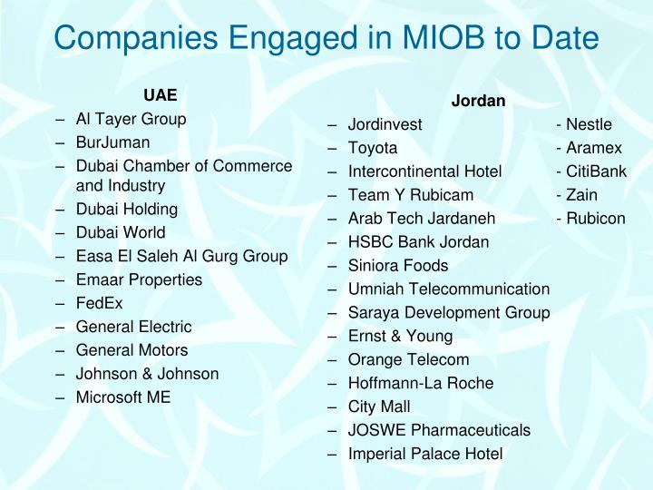 Companies Engaged in MIOB to Date