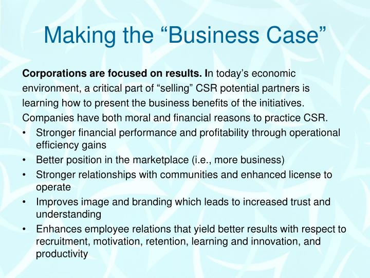 "Making the ""Business Case"""