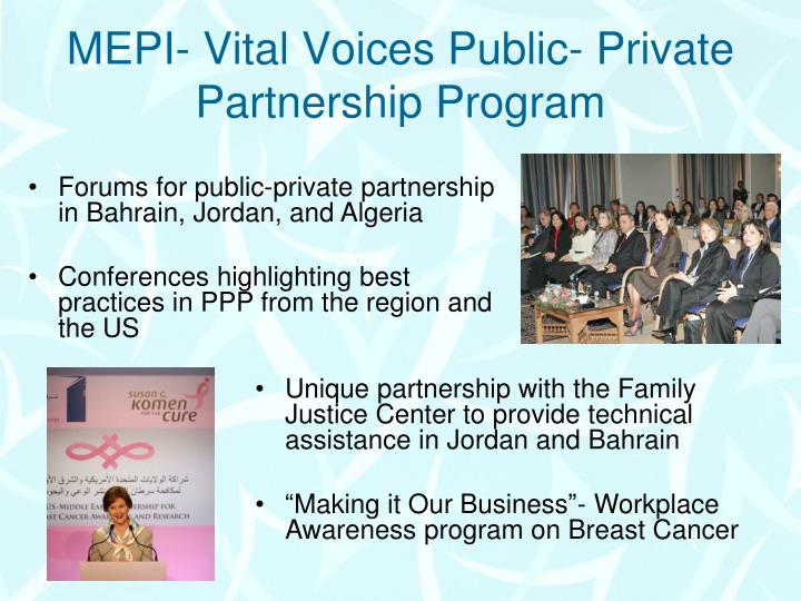 MEPI- Vital Voices Public- Private Partnership Program