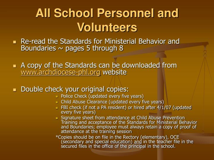 All School Personnel and Volunteers