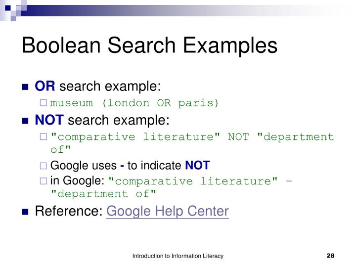 Boolean Search Examples