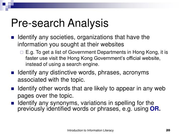 Pre-search Analysis