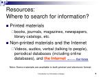 resources where to search for information