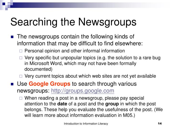 Searching the Newsgroups