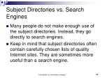 subject directories vs search engines