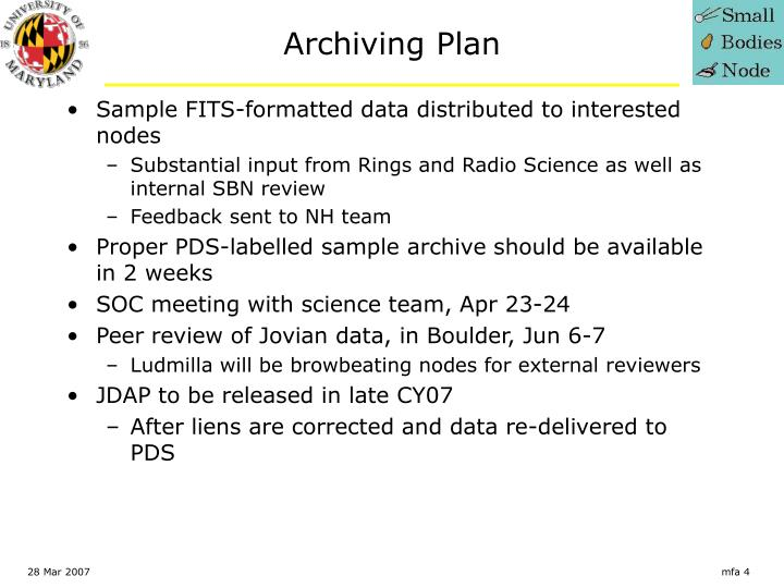 Archiving Plan