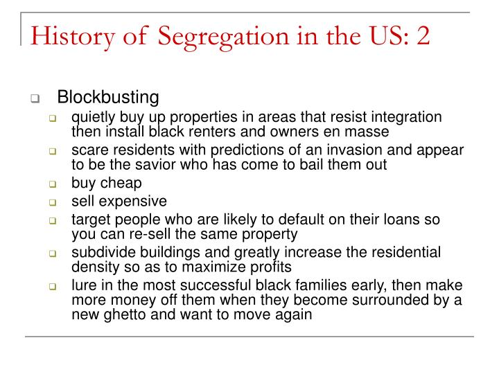 History of Segregation in the US: 2
