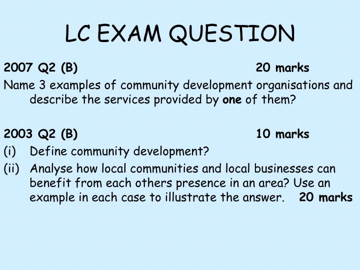 LC EXAM QUESTION