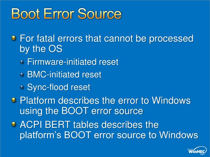 Boot Error Source