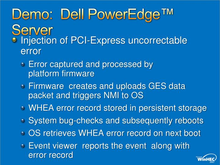Demo:  Dell PowerEdge™ Server