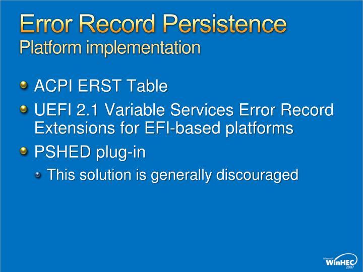 Error Record Persistence