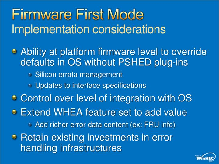 Firmware First Mode